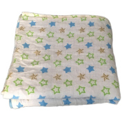 Muslin Swaddle Blankets 4 Layer - Seben Baby - 120cm x 120cm - 100% Cotton - Stars with Blue - Unisex for Boys or Girls