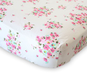100% Organic Cotton Fitted Crib Sheet by ADDISON BELLE - Premium Baby Bedding - Flower Print - Soft, Breathable & Durable