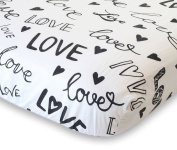 100% Organic Cotton Fitted Crib Sheet by ADDISON BELLE - Premium Baby Bedding - Love Print - Soft, Breathable & Durable
