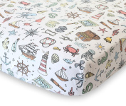 100% Organic Cotton Fitted Crib Sheet by ADDISON BELLE - Premium Baby Bedding - Sea Treasures Print - Soft, Breathable & Durable