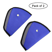RD Lane 2 PCS Triangle Car Child Safety Cover Harness Pad Adjuster Mash Pad Kids Seat Belt Children Seatbelt Clip Booster Made of Air Mesh Fabric Blue With Black Lining