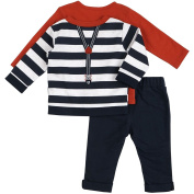 """Petit Lem Baby Boys"""" Holiday 3pc Set-Penguin Top and Pant with Stripe Cardigan and Faux Suspenders."""