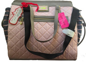 Betsey Johnson Grey Pink Quilted Utility Baby Nappy Bag