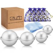 Caydo 4 Set 4 Size DIY Metal Bath Bomb Mould with 100pcs Shrink Wrap Bags and 4pcs Gift Bags for Crafting Your Own Fizzles