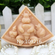 Creativemoldstore 1pcs Cow & Chicken (ZX807) Silicone Handmade Soap Mould Crafts DIY Mould