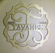 Unfinished Wood Bicurve Scallop Frame Name Vine Monogram in 17.5 Tall X 42cm Door Hanger