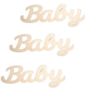 ROSENICE Wooden MDF Plain Baby Sign Wood Embellishment for DIY Crafts - 10 Pieces