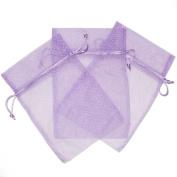 30 Cute Polka Dot Party Favour Gift Bags Organza Fabric Drawstring Bags - Lavander Purple