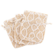 20 Party Favour Gift Bags Burlap White Lace