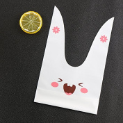 Mandydov 100pcs Rabbit Rat Long Ears Gift Pouch Wrapping Packaging Bags for Baking Cookie, Candy, Biscuits 13cm x 23cm