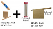 6 Rolls Brown Kraft Wrapping Paper / Postal Wrap (3 Rolls Plain 80cm + 3 Rolls Elegant Striped Embossed Beige Kraft Paper)