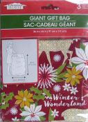 Giant Christmas Gift Bag ~ Colourful Festive Gift Sacks with Matching Gift Tag