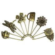 LEFV™ 6 Pcs Bronze Vintage Hijab Pins Brooch Safety Pins