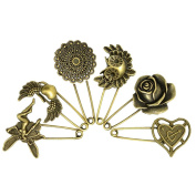 LEFV™ Decorative Bronze Assorted Safety Pins Vintage Hijab Pins Retro Brooches Pack of 6