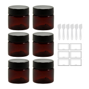Amber 0.50 oz / 15 ml PET (BPA Free) Plastic Jar (6 pack) + Spatulas and Labels