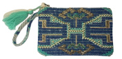 Hand beaded embroidered clutch wristlet with tassel