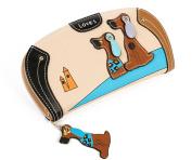 Women's Clutch Wallets PU Leather Zip Closure Handbag Purse with Cute 3d Puppy Dog Design