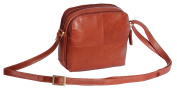 Womens Leather Shoulder Bag Multi Zip top Compartments Brown Cross body bag A939