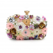 Flada Girl's Coloured Flowers Rhinestone Clutch Handbag Evening Prom Party Purse Bags Gold