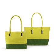 Darling's Two-Tone Shoulder Tote - Dual Bags Set - Large & Medium - Lime Yellow & Green