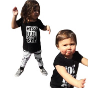 Yoyorule 2pcs Toddler Baby Girls T-shirt Tops+ Pants Leggings Outfit Set