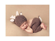 Newborn Baby Photography Prop Crochet Knitted Animal Deer Hat Nappy (100 Days) By PetsMostHome