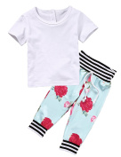 Baby Girls Short Sleeve White T-shirt and Flower Print Pants Outfit