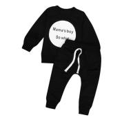 Yoyorule Baby Boys Girls Printed Long Sleeve T-shirt Tops+Pants Clothes Set