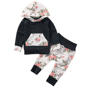 Baby Girls Long Sleeve Flowers Hoodie Top and Pants Outfit with Kangaroo Pocket