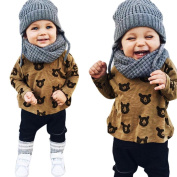 Yoyorule Toddler Boys Girls Bear Printing T-shirt+Long Pants Outfits Set