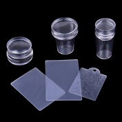 Biutee 3 Different Set Clear Jelly Stamper Plate and Scrapers Set DIY Polish Print Template Manicure Accessories