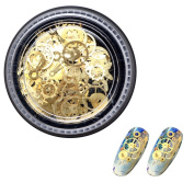 enForten Ultra-thin 3D Nail Decorations Golden Time Wheel Steam Geometric Gear Punk Style Metal Manicure Nail Art Decoration Package of 1 Box Package of 1 box
