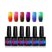 BELLE FILLE Soak Off UV LED Thermal Temperature Colour Changing Gel Nail Polish Set Of 6 Hot Change