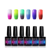 BELLE FILLE Soak Off UV LED Thermal Temperature Colour Changing Gel Nail Polish Set Of 6 Glitter Change