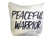 Natural Cotton Canvas Makeup Bag & Carryall Pouch - 20cm x 18cm x 7.6cm - PEACEFUL WARRIOR