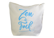 Natural Cotton Canvas Makeup Bag & Carryall Pouch - 20cm x 18cm x 7.6cm - Zen as FCK
