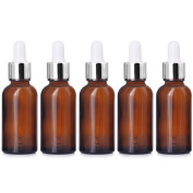 5 PCS Portable Travel 1oz/30ml Dark Brown Empty Refillable Glass Bottles Essential Oil Perfume Liquid Lotion Containers Bottles with Silver Head Droppers