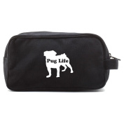 Pug Life Puppy Canvas Dual Two Compartment Travel Toiletry Dopp Kit Bag