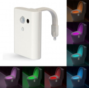 Motion Activated Toilet LED Night Light, Motion Sensor Toilet Nightlight Toilet Seat Light with 8 Colour Changing Intelligent