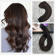 Moresoo 60cm 20pcs/50g 100% Straight Remy Human Hair Natural Black #1B to Chocolate Brown #4 Two Tone Ombre Balayage Colour Seamless Skin Weft Tape In Hair Extensions