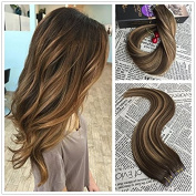Moresoo 36cm 20pcs/50g Colourful Two Tone Hair Chocolate Brown Highlighted with Cameral Blonde 100% Remy Human Hair Seamless Tape Hair Extensions