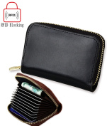 iSuperb RFID Blocking Leather ID Credit Card Wallet Holder Protector Travel Zipper Small Purse Wallet Pouch Case for Women with Gift Box 4.5x 2.20cm x 2.5cm