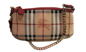 Burberry Haymarket Nova Cheque Clara Leather Wristlet