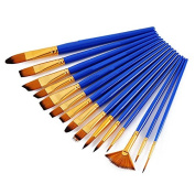 ULTNICE 15Pcs Paint Brushes Nylon Hairs Round Pointed Tip Art Brushes Set with Canvas Bag for Acrylic Oil Watercolour Painting Blue