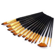 PIXNOR Paint Brushes Set Art Brushes Set with Case for Watercolour Oil Acrylic Painting, Pack of 15