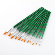 ULTNICE 12Pcs Nylon Hairs Paint Brushes Professional Round Pointed Tip Hog Art Paint Brush Set for Acrylic Oil Watercolour Painting