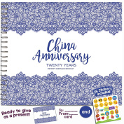 20TH ANNIVERSARY GIFTS FOR COUPLES BY YEAR - Twenty Year Booklet with Matching Card for China Anniversary. Twentieth Anniversary Memory Journal - Unique 20 Year Wedding Gift for Husband or Wife!