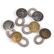 BT-RSTT 6 Pack Antique Brass Metal No Sew Elastic Jeans Collar Button Pant Extender