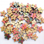 RoseSummer 25pcs/pack Star Shaped Painted 2 Hole Wooden Buttons 25mm x25mm