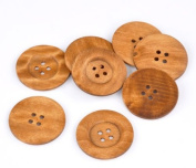 10PCs Light Brown 4-Hole Wood Big Sewing Buttons for Sweater Clothing 6cm